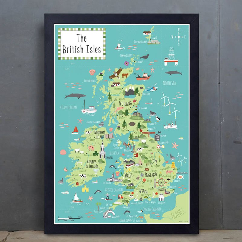 illustrated map of the British Isles