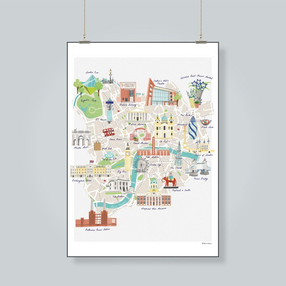 map of London landmarks print