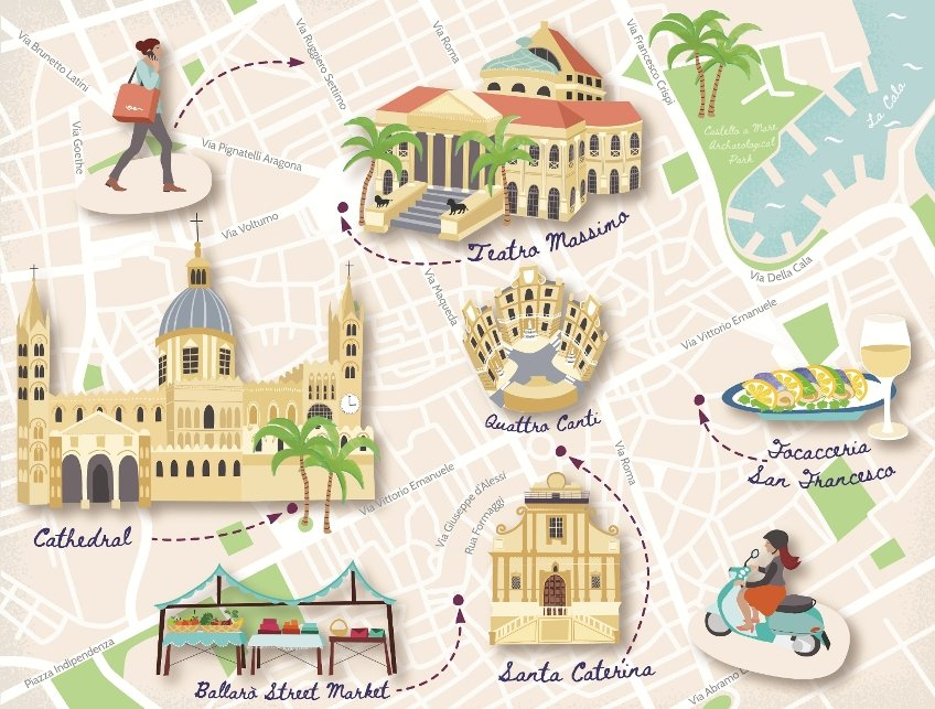 Illustrated tourist map of Palermo