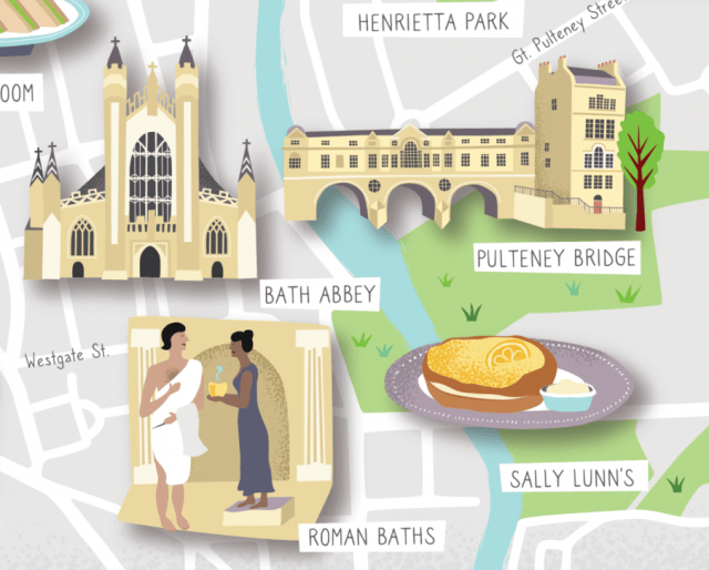 Illustrated map of Bath