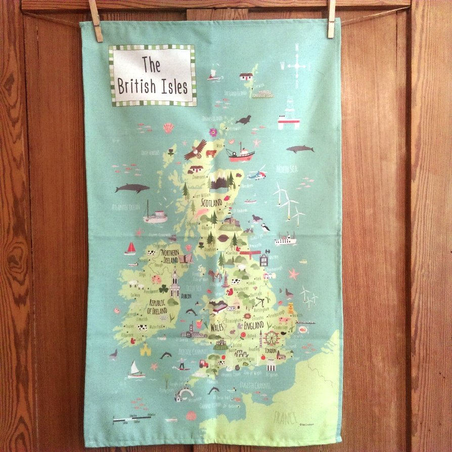 tea-towel map of the British Isles