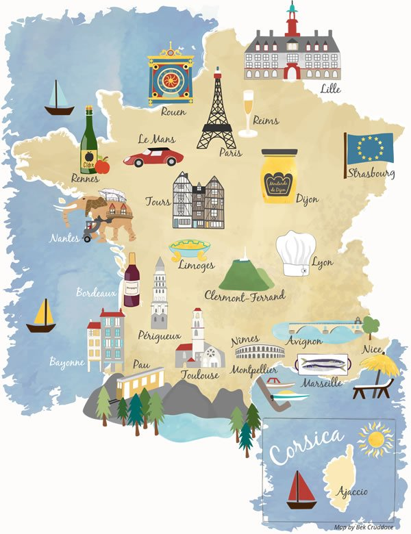 Illustrated maps of France cities
