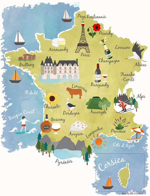 Illustrated maps of France Regions