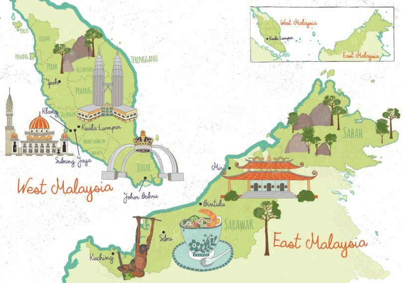 Illustrated Tourist Map of Malaysia