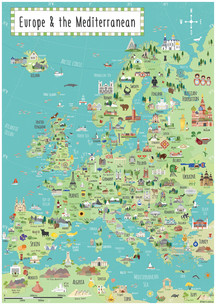 illustrated map Europe
