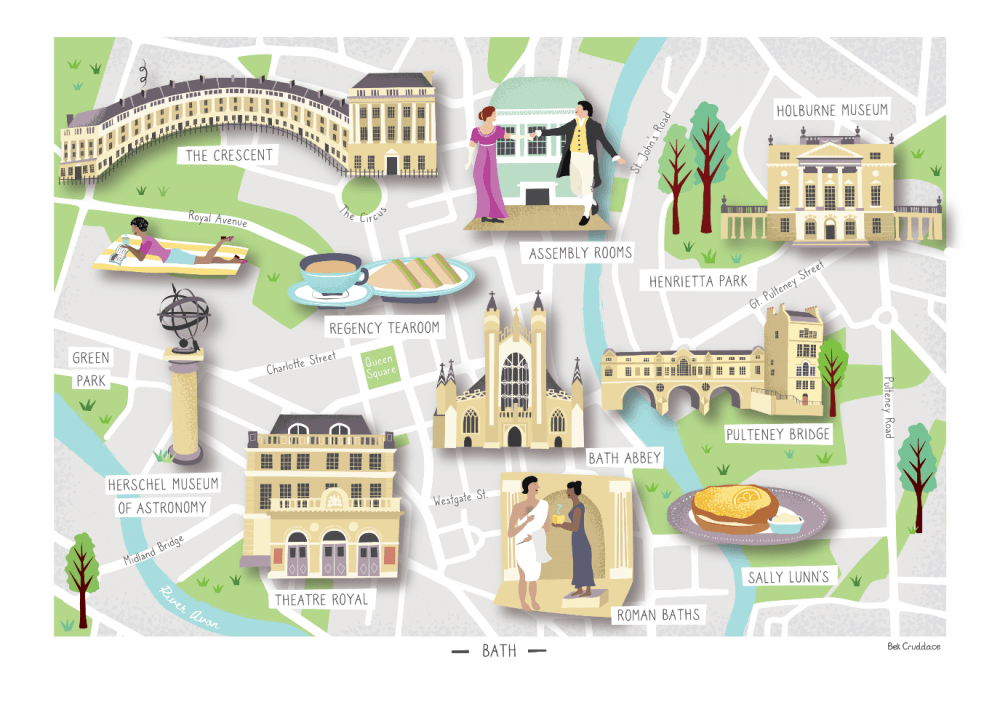 Bath illustrated map print