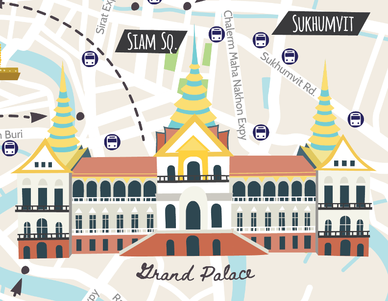 Illustrated map of Bangkok