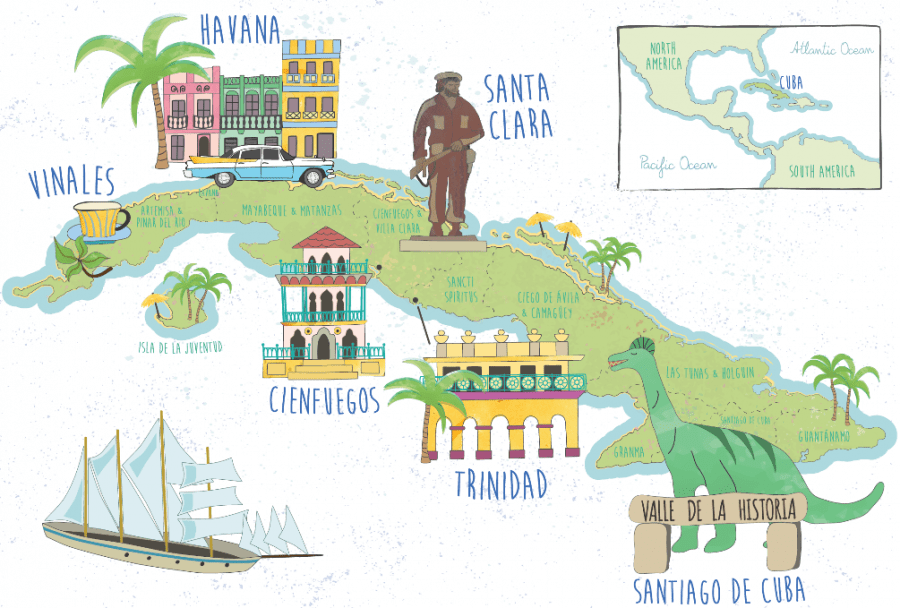 Illustrated map of Cuba