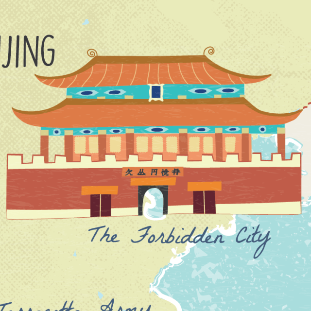 Illustrated map of China Bejing