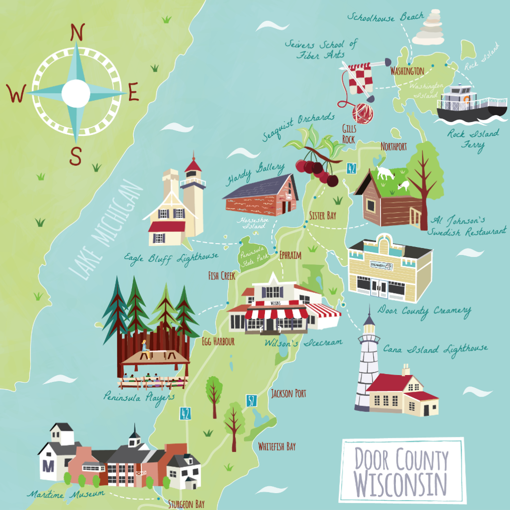 Illustrated map of Door County for Lands End Marketing campaign