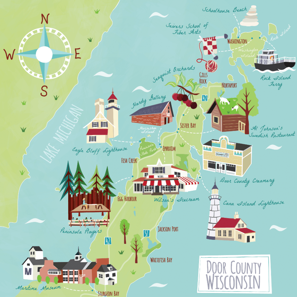 Landsend promotional illustrated map of door county