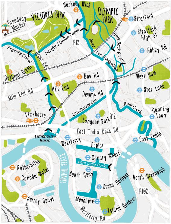 London map docklands Waterways