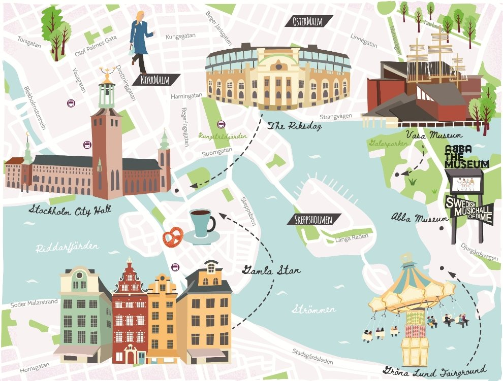 Illustrated map of Stockholm