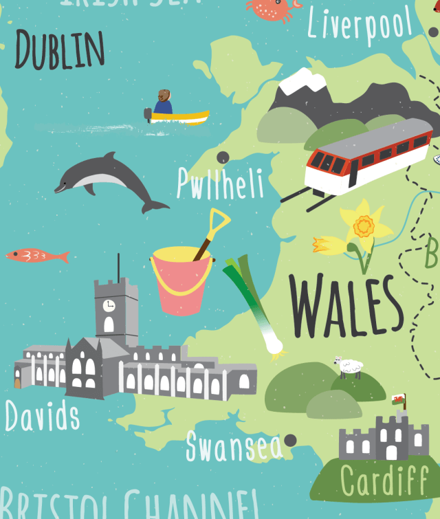 children's UK map wales detail