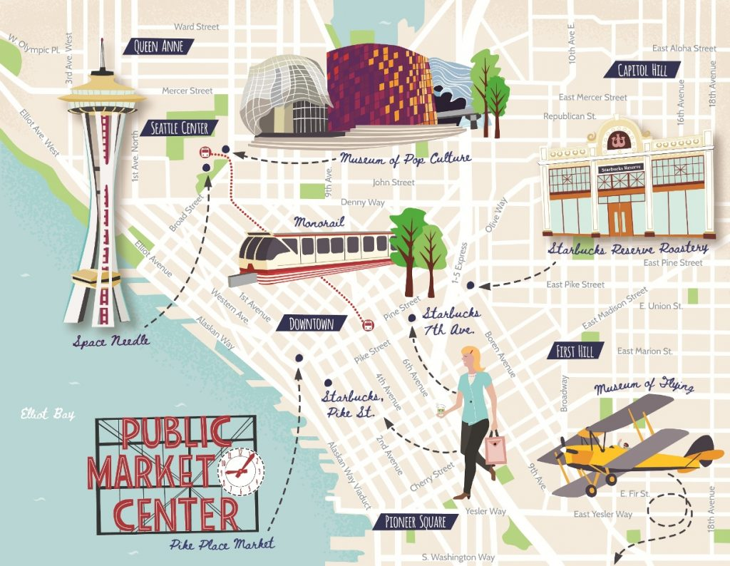 Illustrated Seattle map