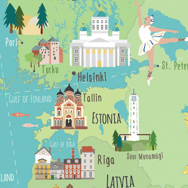 illustrated Europe map Estonia