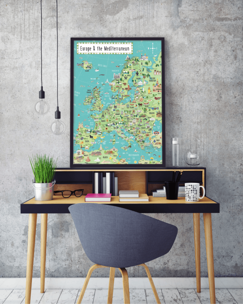 illustrated Europe map framed
