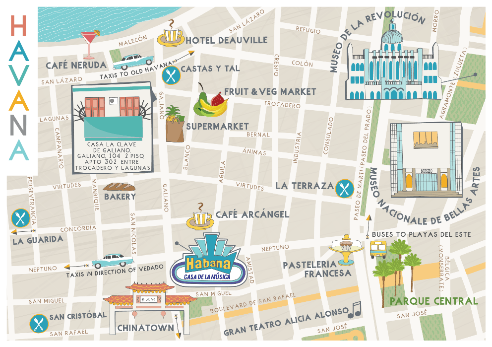 illustrated Havana map holiday let