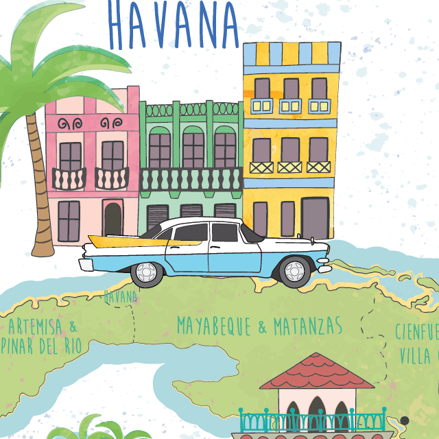 illustrated map of Cuba detail