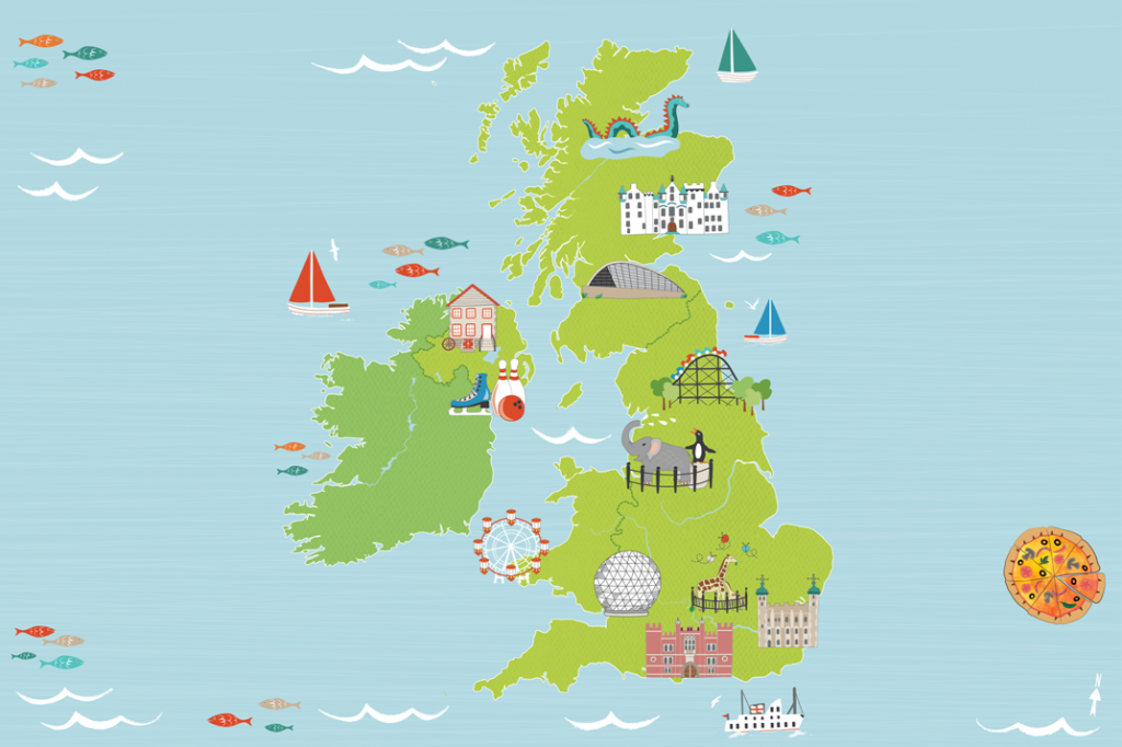 illustrated map of Great Britain Tesco Uk Map