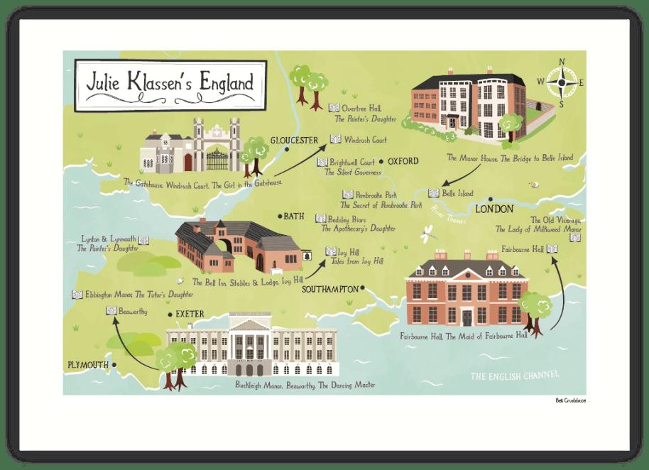 Julie Klassen's England historical style Map