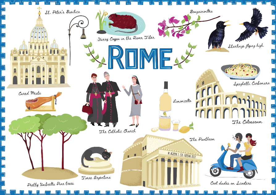 Illustrated elements of Roman life