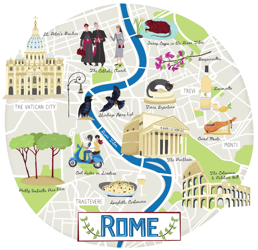 Illustrate map of Rome