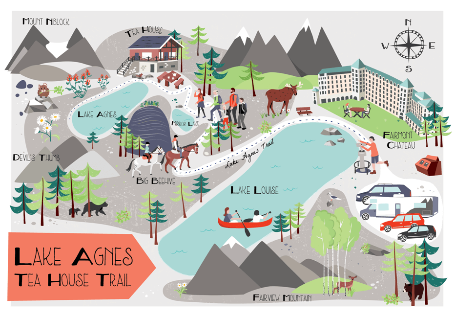 Lake Agnes Tea House Hike Map