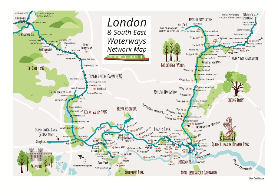 London waterways Canal network map