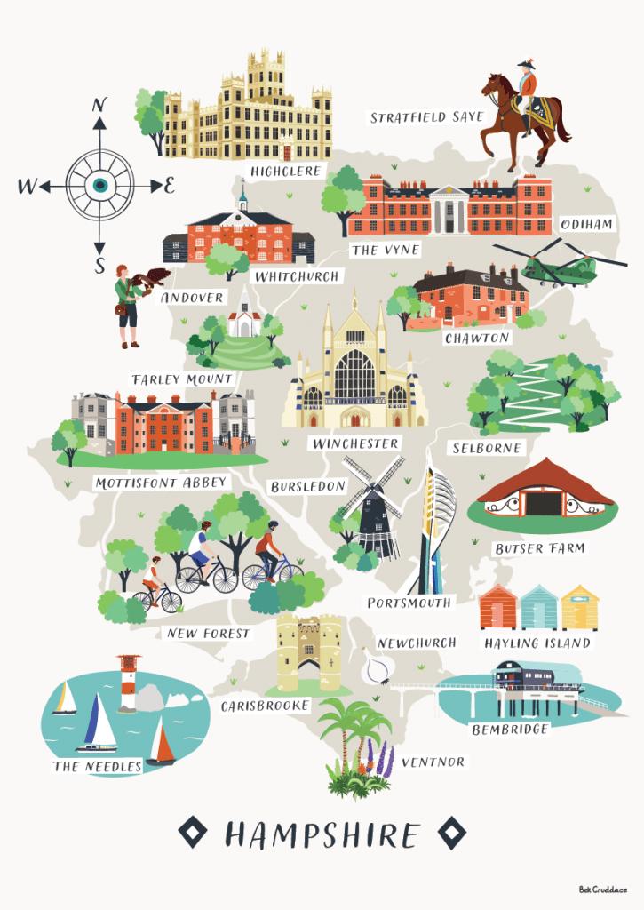 Hampshire map print