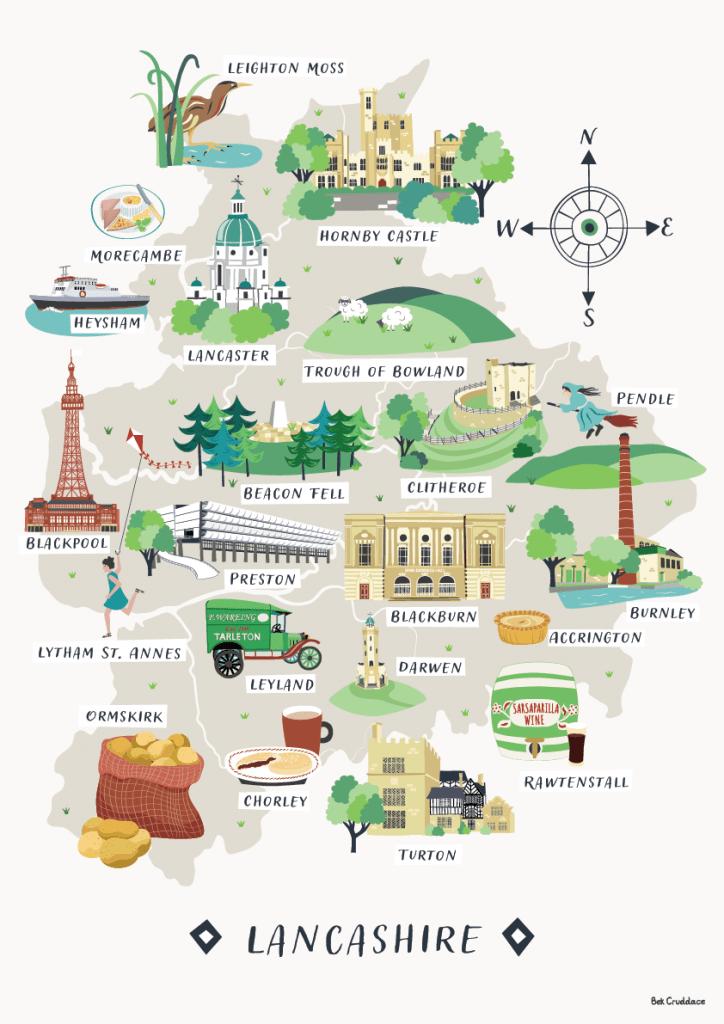 Lancashire map print