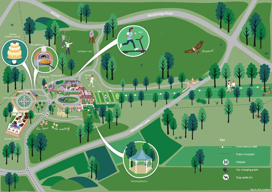 Lainston house Hotel grounds Map