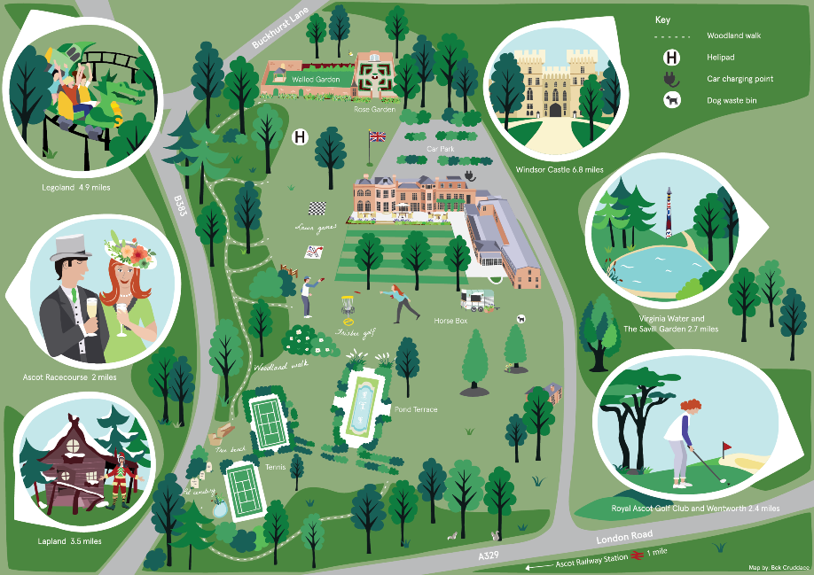 Royal Berkshire hotel grounds Map